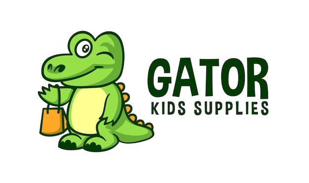 Cartoon niedlicher aligator charakter maskottchen logo