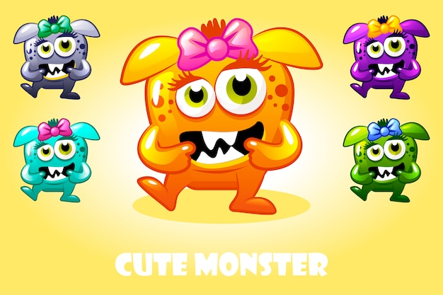 Cartoon niedliches baby monster in verschiedenen farben, lustiger zeichensatz
