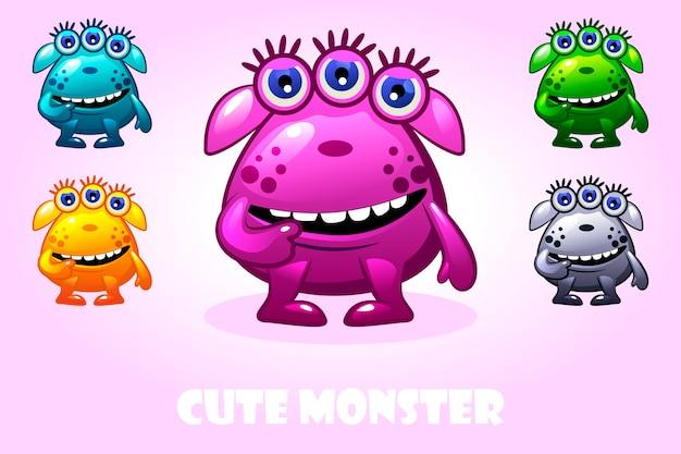 Cartoon niedliches monster in verschiedenen farben, lustiger zeichensatz
