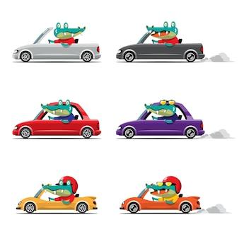 Cartoon niedliches tierantriebsauto auf der straße tierfahrer streichelt fahrzeug und krokodil