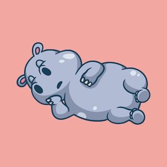 Cartoon-nilpferd, das auf rosa schläft