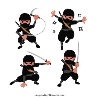 Cartoon ninja charakter in verschiedenen posen