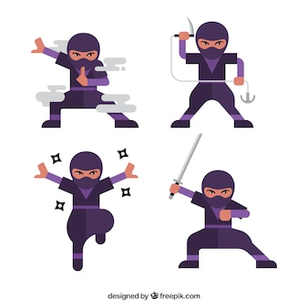 Cartoon ninja charakter in verschiedenen posen