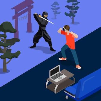 Cartoon ninja kampfspiel screenshot konzept illustration. isometrischer 3d flacher stil, der videospiel-screenshot spielt. mann, der mit samurai durch hände kämpft. sofa laptop teppich zimmer natur hintergrund.