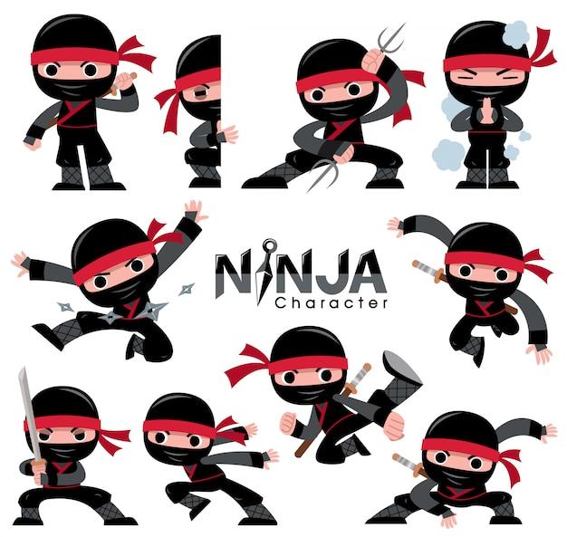 Cartoon ninja zeichensatz. kämpfende posen