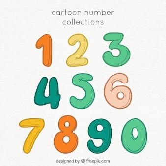 Cartoon-nummer-sammlung mit bunten stil