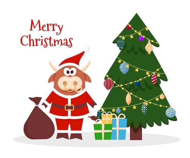 Cartoon ochse santa weihnachten