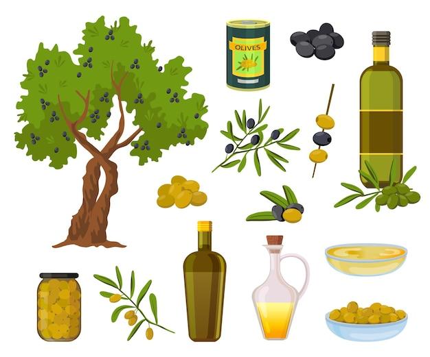 Cartoon-olivenprodukte. schwarze und grüne oliven in gläsern, gesundes natives öl in flaschen und schüssel. olivenbaum und zweig mit blättern vektor-set