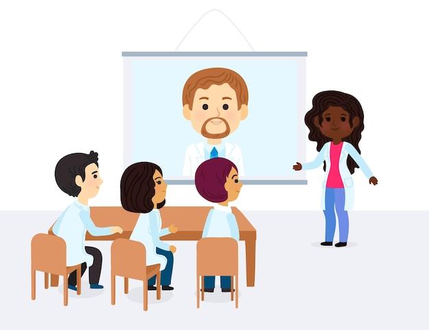Cartoon online-medizinische konferenz