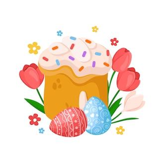 Cartoon ostertag - süßer osterkuchen, frühlingsblumen tulpe, narzisse, narzisse, eier, blumenfeiertagsstrauß