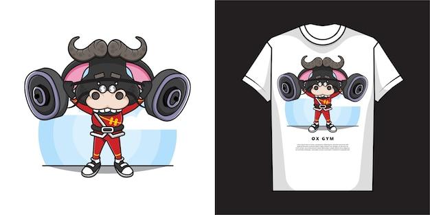 Cartoon ox t-shirt design