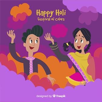 Cartoon paar holi festival hintergrund