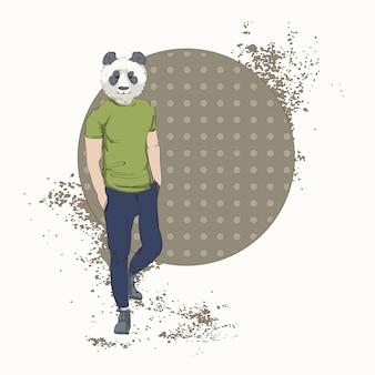Cartoon panda bär hipster