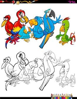 Cartoon papageien zeichen malbuch