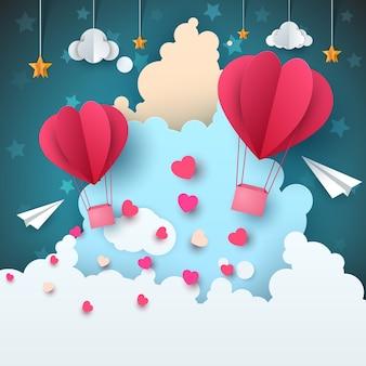 Cartoon papier luftlandschaft. wolke, flugzeug, herz, liebe, stern.