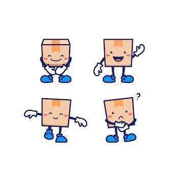 Cartoon pappkarton paket paket mann maskottchen für die lieferung online-shop kurier zeichensatz