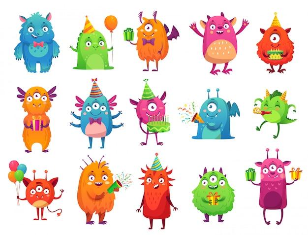 Cartoon party monster. nette monster alles gute zum geburtstaggeschenke, lustiges außerirdisches maskottchen und monster mit grußkuchenillustrationssatz