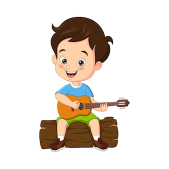 Cartoon-pfadfinder spielt gitarre auf baumstumpf