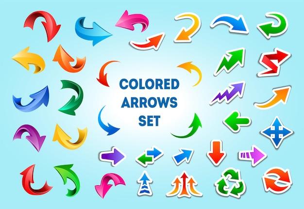 Cartoon-pfeilsymbole in verschiedenen stilen. richtungszeiger mit weißen strichen, gebogene pfeile