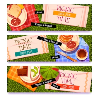 Cartoon-picknick-zeit-banner-set