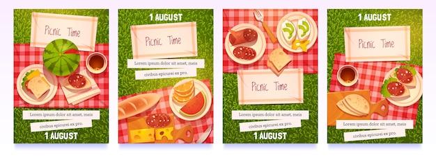 Cartoon-picknick-zeit-flyer-sammlung