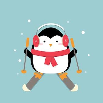 Cartoon-pinguin skifahren