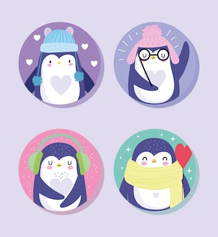 Cartoon-pinguine eingestellt