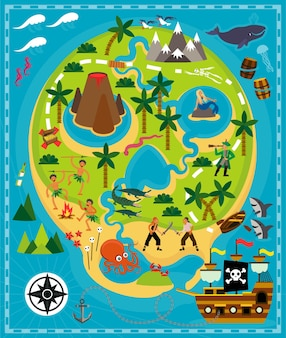 Cartoon piraten karte schatz reise abenteuer vektor illustration