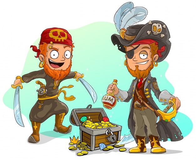 Cartoon-piraten mit rum und schatztruhe