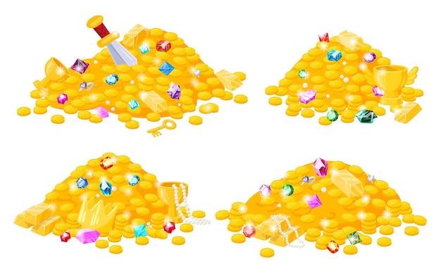 Cartoon piraten schatz, goldmünzen, edelsteine, krone, schwert, juwelen. piratenschatzgoldhaufen, krone, kristalledelsteine, vektorillustrationssatz. märchenhafte schatzhaufenmünze, goldene krone und edelstein