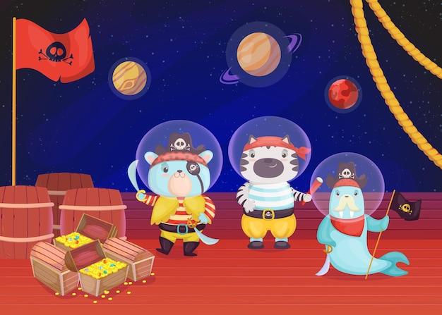 Cartoon-piratentiere auf dem deck der flachen illustration des schiffes