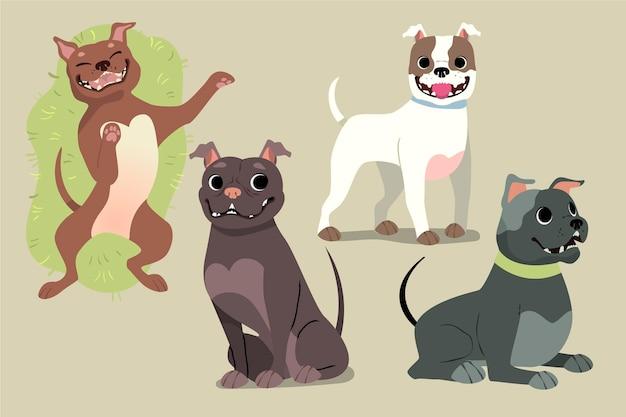 Cartoon pitbull welpensammlung