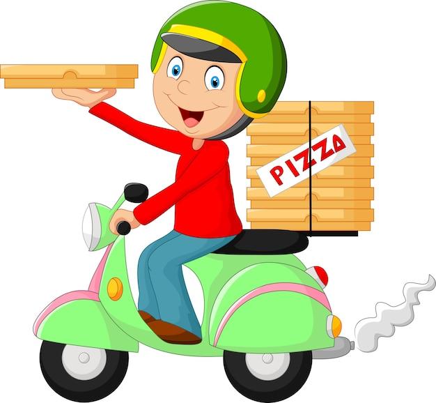 Cartoon-pizza-lieferjunge reiten motorrad