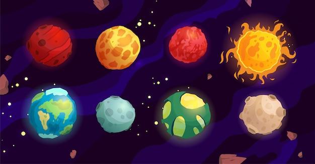 Cartoon planeten vektor niedlich set raumobjekte - sonne, mond, mars, quecksilber, erde. fantasy-planeten.
