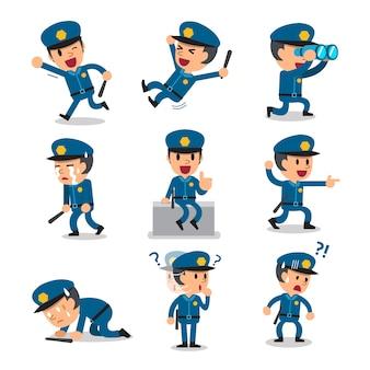 Cartoon polizist charakter stellt