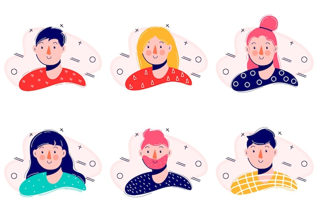 Cartoon-porträt. einfaches modernes design. flache zeichenillustration. symbol. moderne flache sammlung mit ikonen der jungen leute eingestellt. farbe .