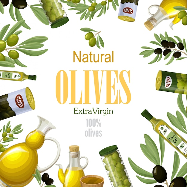 Cartoon premium natürliche oliven vorlage mit schwarzen und grünen olivenzweigen dosen schalen töpfe gläser und flaschen gesundes öl