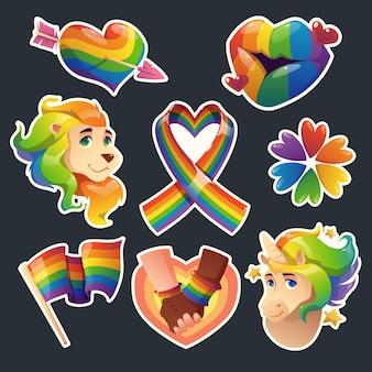 Cartoon pride day abzeichen sammlung
