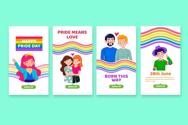 Cartoon pride day instagram geschichten sammlung
