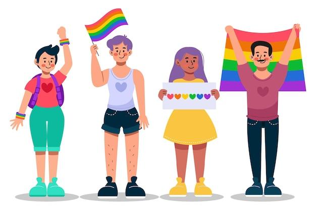 Cartoon pride day paar sammlung