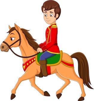 Cartoon-prinz reitet auf einem pferd