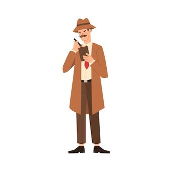 Cartoon professioneller mann detektiv mit schnurrbart macht notizen vektor flache illustration. geheimagent im mantel, der skizzenblock-schreibbenachrichtigung lokalisiert auf weiß hält. inspektor mit notebook.