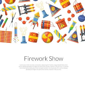 Cartoon pyrotechnik hintergrund illustration mit platz für text