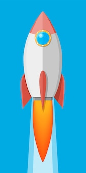 Cartoon-rakete am himmel. raumschiff abheben. existenzgründungskonzept. vektorillustration im flachen stil