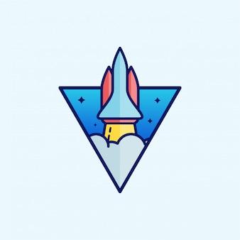 Cartoon-raketendesign. raketenlogo design. logo design vorlage.