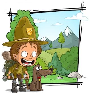 Cartoon ranger boyscout charakter mit hund