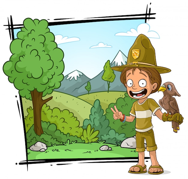 Cartoon ranger boyscout charakter mit papagei