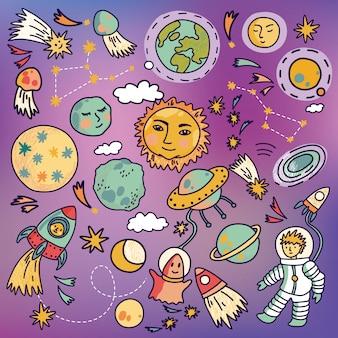 Cartoon raumschiff ikonen mit planeten, raketen, astronauten und sternen. hand gezeichnete vektorillustration.