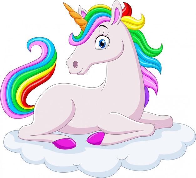 Cartoon regenbogen einhorn auf wolken