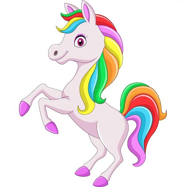 Cartoon regenbogen pferd isoliert